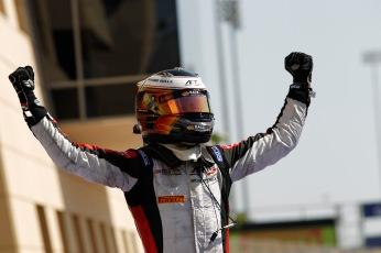 2014 GP2 Series Round 1Bahrain International Circuit, BahrainSaturday 5 April 2014.Stoffel Vandoorne (BEL, ART Grand Prix), celebrates his win in parc fermeWorld Copyright: Sam Bloxham/LAT Photographic.ref: Digital